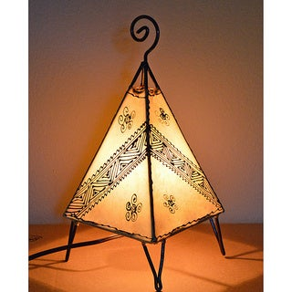 Handmade Pyramid Style Leather Henna Lamp (Morocco)