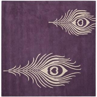 Safavieh Handmade Soho Purple/ Ivory New Zealand Wool/ Viscose Rug (4' Square)