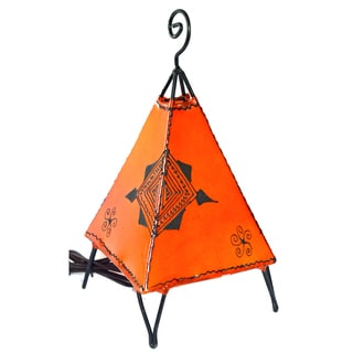 Handmade Orange Pyramid Style Leather Henna Lamp (Morocco)