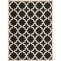 Safavieh Stain Resistant Indoor/ Outdoor Courtyard Black/ Beige Rug (5'3 x 7'7)
