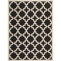 Safavieh Stain Resistant Indoor/ Outdoor Courtyard Black/ Beige Rug (5'3 x 7'7)