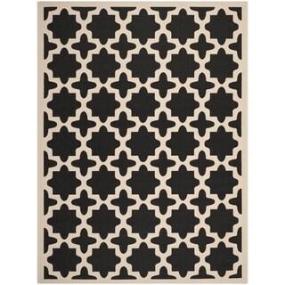 Safavieh Indoor/ Outdoor Courtyard Black/ Beige Polypropylene Rug (8' x 11')