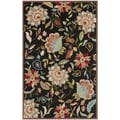 Safavieh Indoor/ Outdoor Four Seasons Black/ Purple Rug (5' x 8')