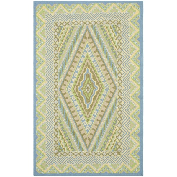 Safavieh Indoor/ Outdoor Four Seasons Blue/ Yellow Rug (3'6 x 5'6)