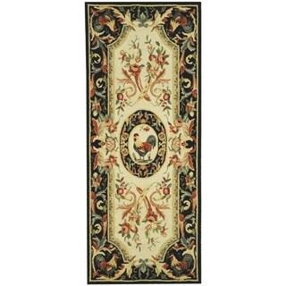 Safavieh Hand-hooked Chelsea Ivory/ Black Wool Rug (2'6 x 12')