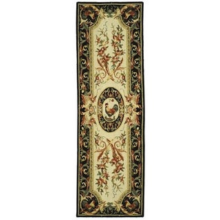 Safavieh Hand-hooked Chelsea Ivory/ Black Wool Rug (2'6 x 8')