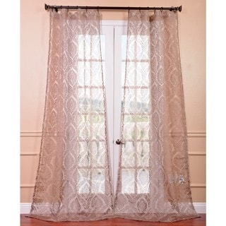 Loretta Taupe Damask Sheer Curtain Panel