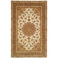 Safavieh Handmade Persian Court Ivory/ Light Olive Wool/ Silk Rug (5' x 8')