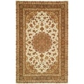 Safavieh Handmade Persian Court Ivory/ Light Olive Wool/ Silk Rug (6' x 9')