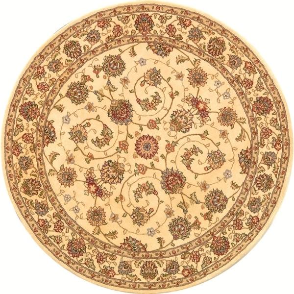 Safavieh Handmade Persian Court Ivory/ Ivory Wool/ Silk Rug (6' Round)