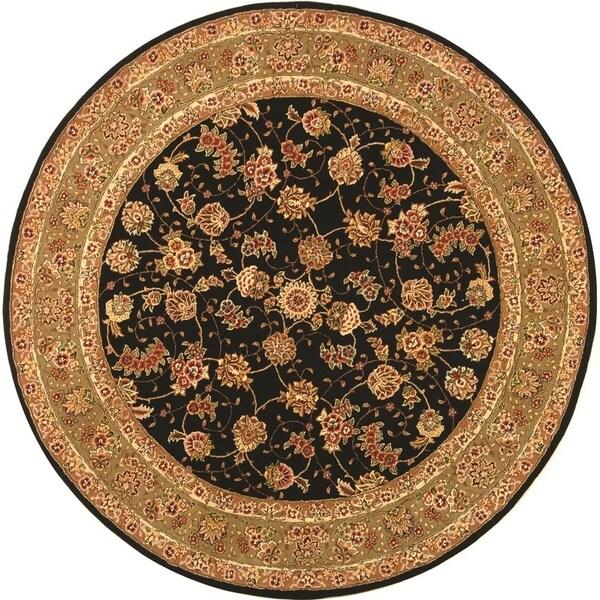 Safavieh Handmade Persian Court Black/ Light Green Wool/ Silk Rug (8' Round)