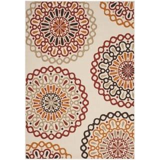 Safavieh Indoor/ Outdoor Veranda Cream/ Red Polypropylene Rug (6'7 x 9'6)