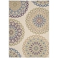 Safavieh Indoor/ Outdoor Veranda Cream/ Green Rug (4' x 5'7)