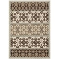 Safavieh Indoor/ Outdoor Veranda Cream/ Chocolate Rug (8' x 11'2)