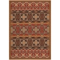 Safavieh Indoor/ Outdoor Veranda Red/ Chocolate Area Rug (4' x 5'7)