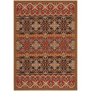 Safavieh Indoor/ Outdoor Veranda Red/ Chocolate Area Rug (6'7 x 9'6)