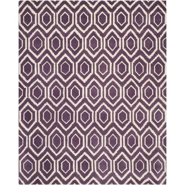 Safavieh Handmade Moroccan Chatham Purple/ Ivory Wool Area