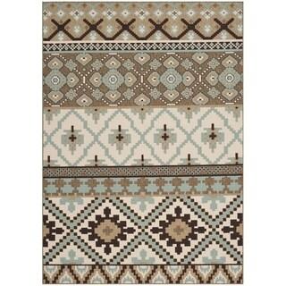 Safavieh Indoor/ Outdoor Veranda Cream/ Brown Southwestern Rug (5'3 x 7'7)