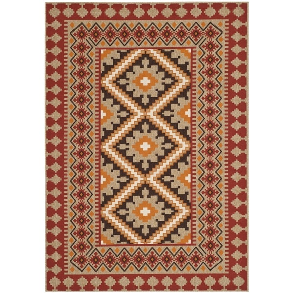 Safavieh Indoor Outdoor Veranda Red Natural Rug 4 x 5