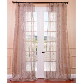 Zara Taupe Patterned Sheer Curtain Panel
