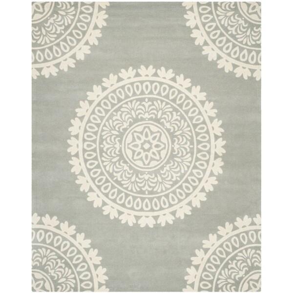 Safavieh Handmade Bella Grey/ Ivory Wool Rug (9' x 12')
