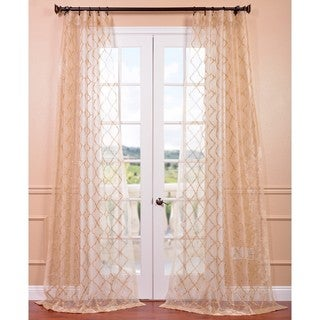 Gia Gold Embroidered Sheer Curtain Panel
