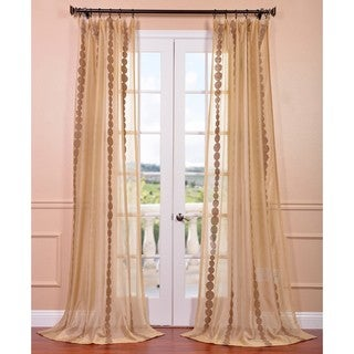 Cleopatra Gold Embroidered Sheer Curtain Panel