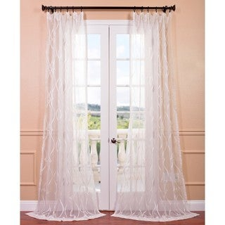 Contessa Creme Embroidered Sheer Curtain Panel