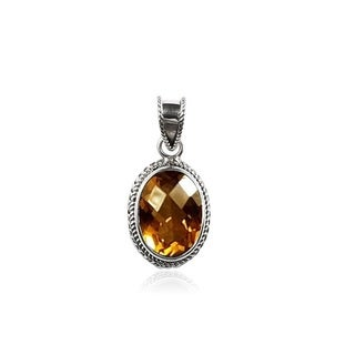 Sterling Silver Bali Faceted Oval Citrine Rope Edge Bezel Pendant (Indonesia)