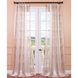 Lunetta Taupe Gold Embroidered Sheer Curtain Panel