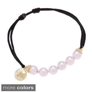 Sterling Essentials Gold Plated Silver and Pink Pearl Initial Friendship Bracelet