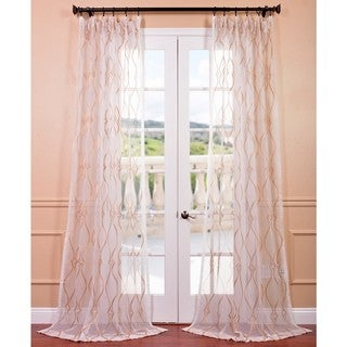 Contessa Gold Embroidered Sheer Curtain Panel