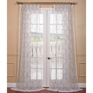 Florentina Silver Embroidered Sheer Curtain Panel