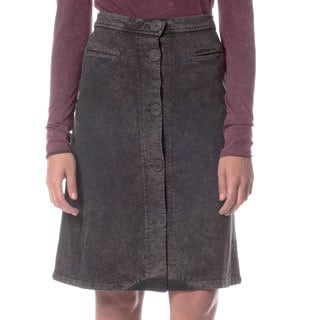 AtoZ Women's Black Button Front A-line Skirt