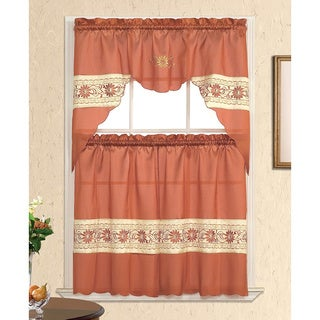 India Rouge Tiered Curtain Set (3-piece)