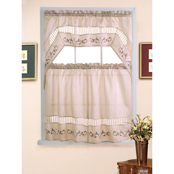 Natural Floral Tiered Curtain Sets (3-piece)