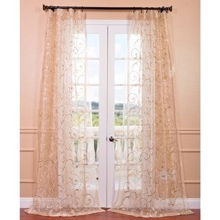 Bella Gold Embroidered Sheer Curtain Panel