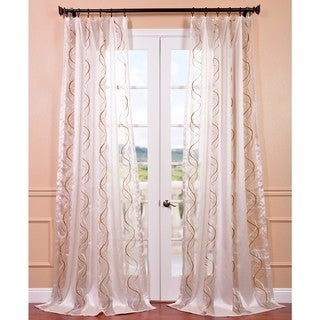 Camille Taupe Gold Embroidered Sheer Curtain Panel