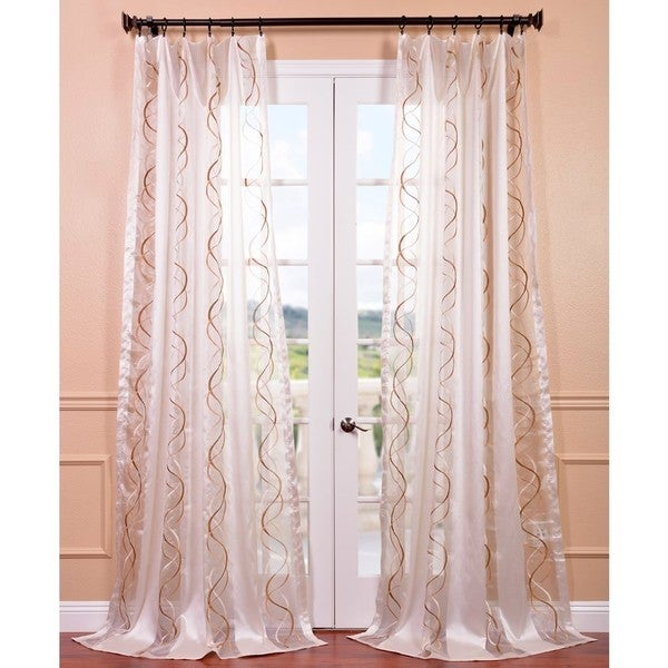 Camille Taupe Gold Embroidered Sheer Curtain Panel - Overstock ...