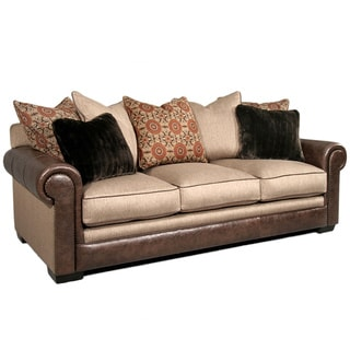 Made To Order Ally/Walnut Bonded Leather Avery Sofa