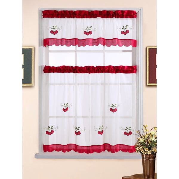 3-piece Sweet Cherry Tiered Curtain Set