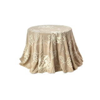 Embroidered 96-inch Round Cotton Table Cloth