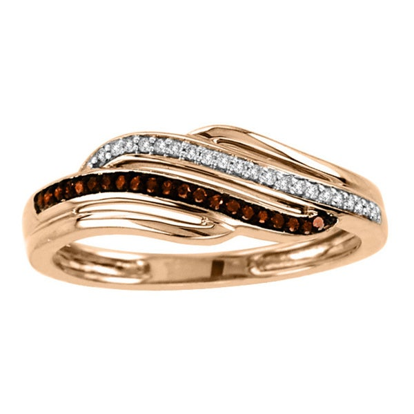 De Couer 10k Rose Gold 1/10ct TDW Cognac and White Diamond Ring (H-I, I2)