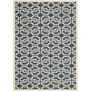 Safavieh Indoor/ Outdoor Courtyard Navy/ Beige Polypropylene Rug (2'7 x 5')