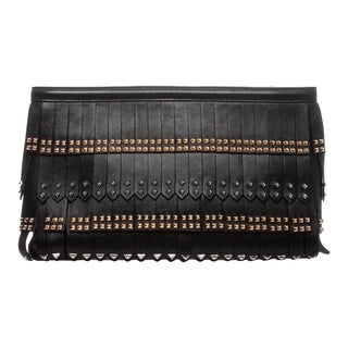 Prada Black Nappa Leather Gold Studded Fringe Clutch