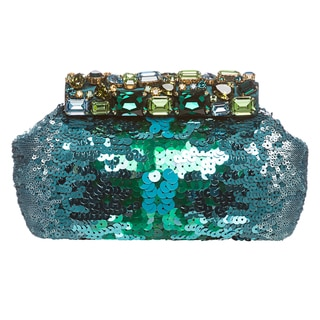 Prada Turquoise Sequins and Jewel Embellished Clutch