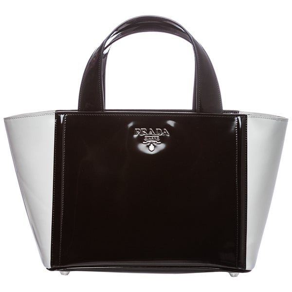 Prada 'Spazzolato' Bi-Color Patent Leather Bucket Bag