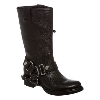 Miu Miu Women's Black Pebbled Leather Motorcycle Boots