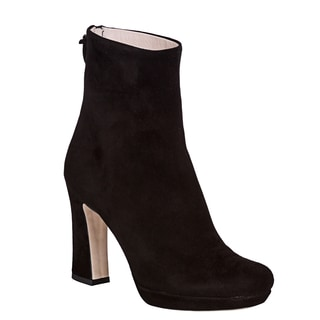 Miu Miu Women's Black Suede Back-zip Ankle Boots