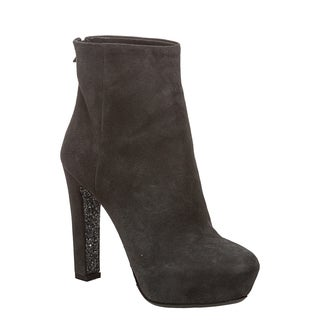Miu Miu Women's Grey Suede Glittered Platform Booties